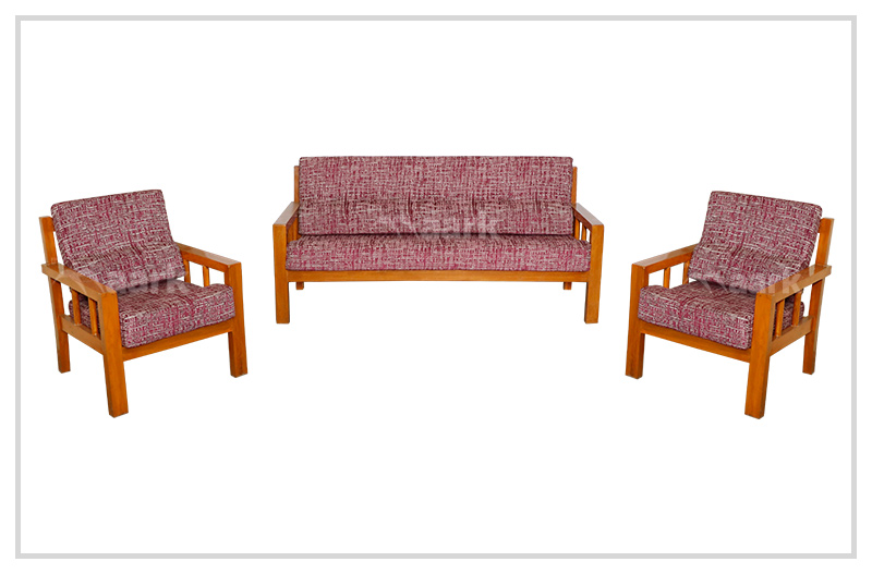 Plain Teak Wood Sofa 3+1+1