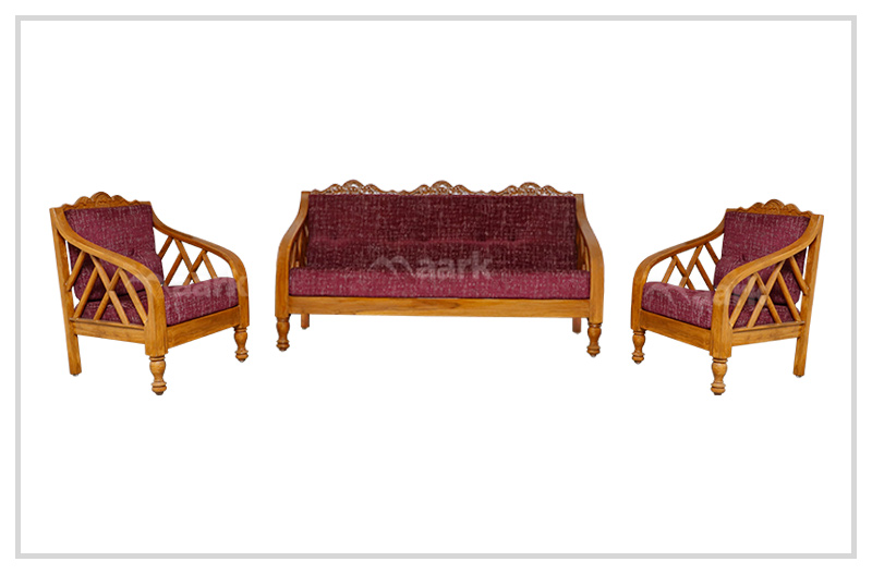 Rinky Carviny Teak Wood Sofa 3+1+1