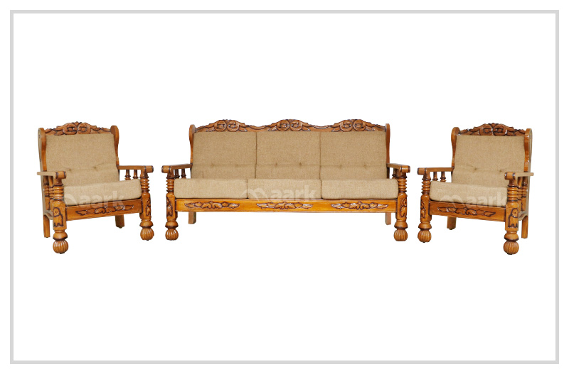 Romina Fabric Teak Wooden Set Sofa