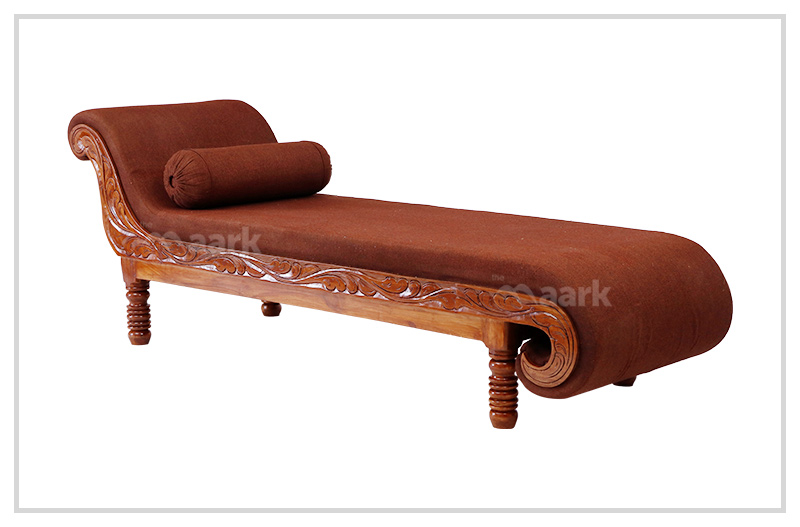 Wooden Brown Fabric Divan Sofa Bed