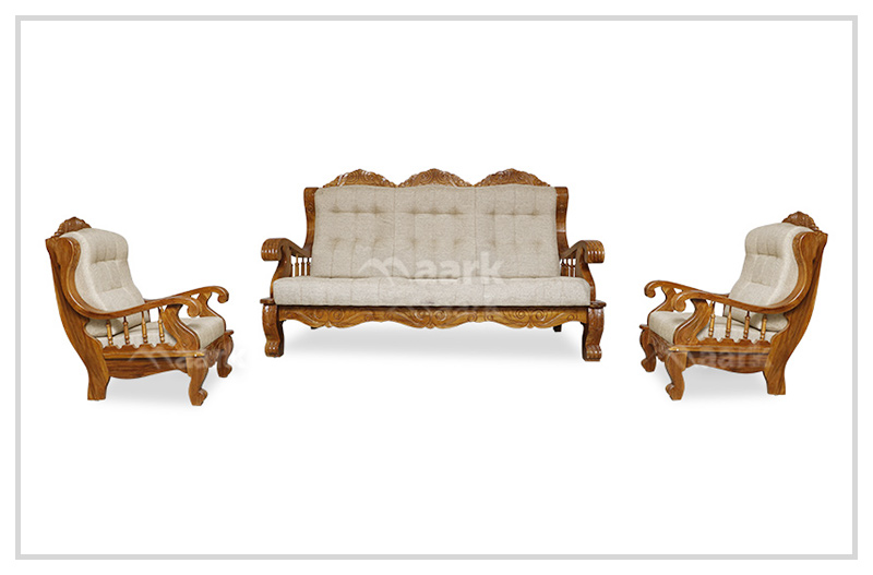 Xandra Ash Colour Teak Wooden Sofa