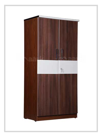 Brown Wooden Two Door Wardrobe