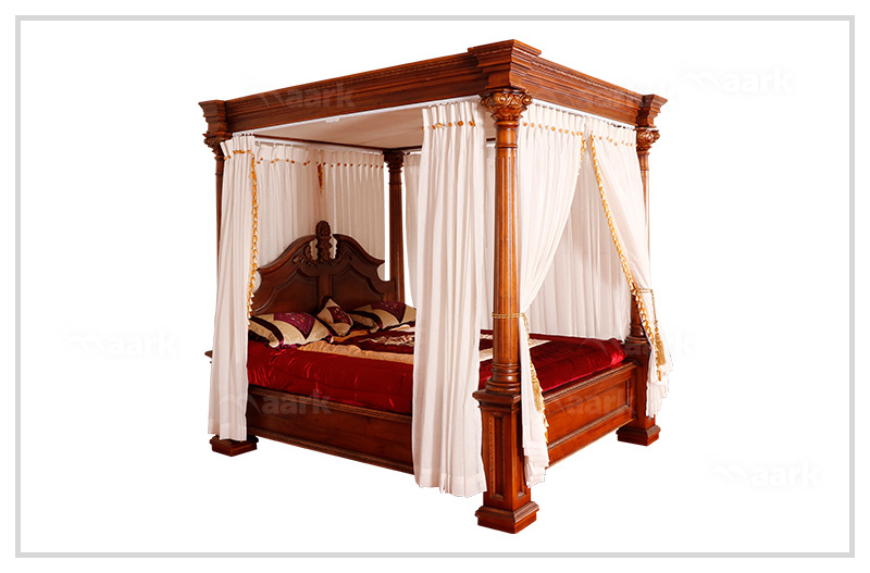 Indian Traditional Four Poster Teak Cot