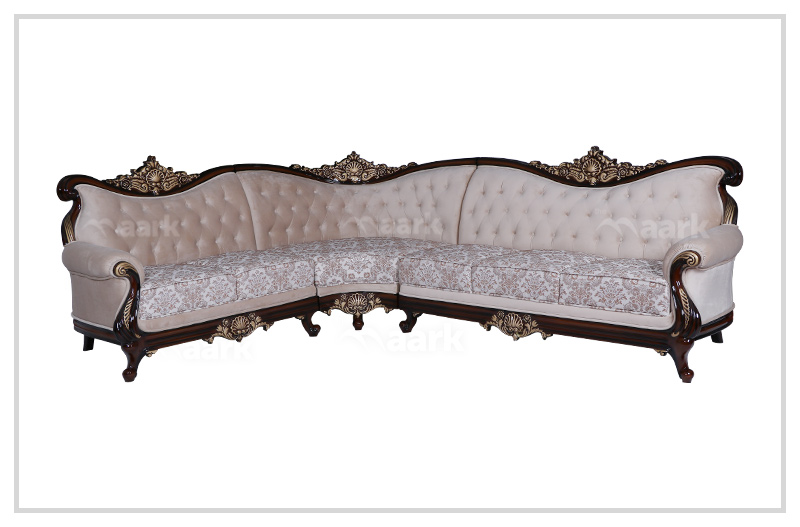 Galaxy Teak Wood Palace Corner Sofa
