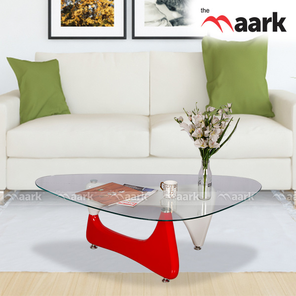 Glass Center Table Red Color