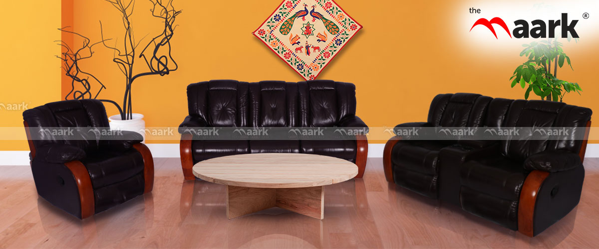 Black Colour Recliner Sofa