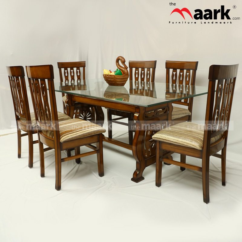 The Maark Glass Top 6 Seater Wooden Dining DL  CHAKRA