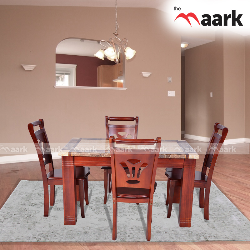 The Maark Four Seater Wooden With Marble Dining