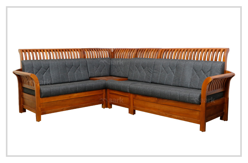 Lined Designed Teak Wooden Corner Sofa
