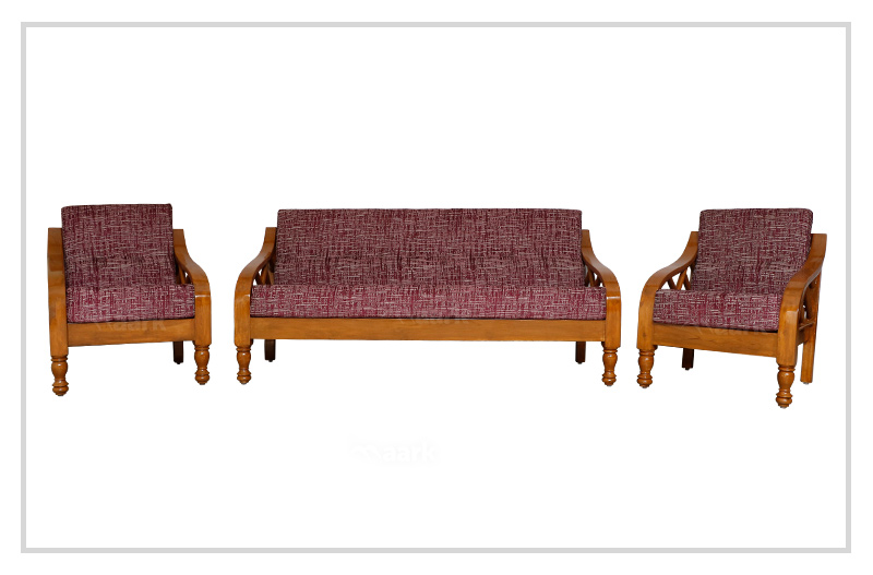 Plain Rinky Teak Wood Sofa 3+1+1