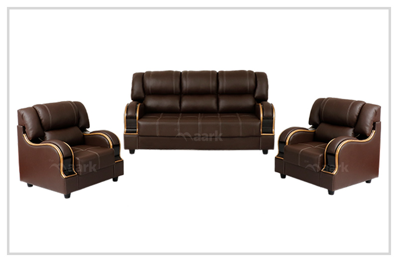 Tuxedo Sofa Set In Brown Colour