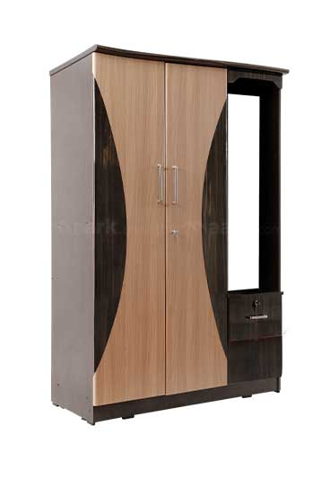 Double Door Wooden Wardrobe With Dresser