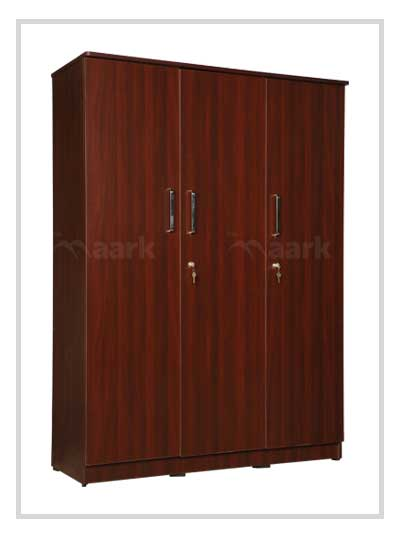 Akron 3 DR Plain Edge Brown Wardrobe