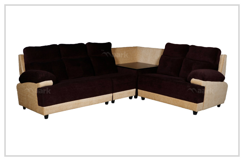 Avisk Fabric Corner Sofa in Sandal and Brown Color
