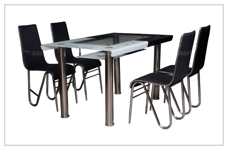 Bend Glass Dining Table in Black Color