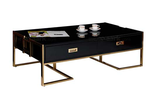 COFFEE TABLE IN BLACK WITH GOLDEN COLOR