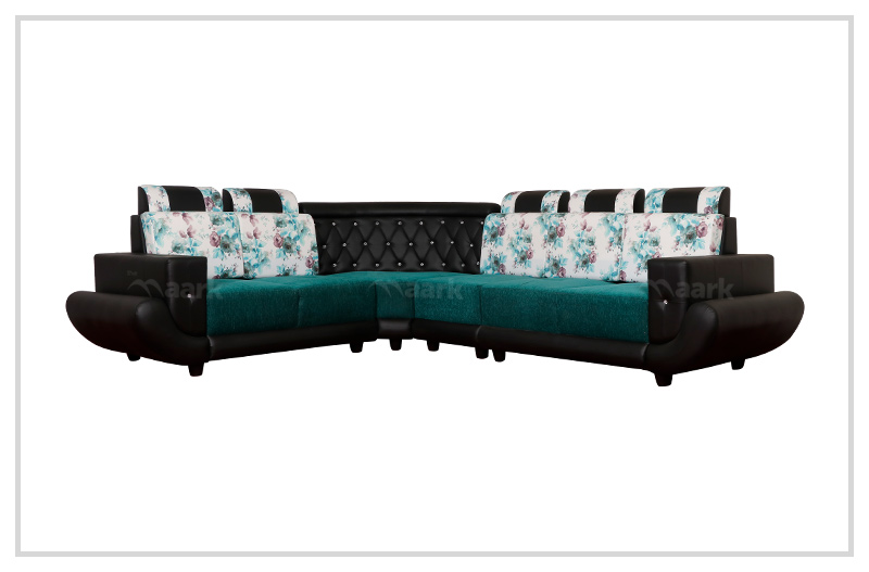 Diamond Corner Sofa in Black and Green Color