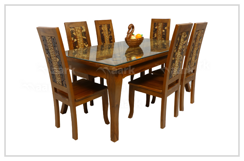 Coin Ceramic Wooden Dining Table