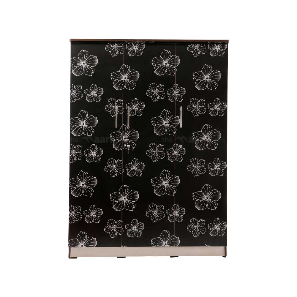 Flower Designed Three Door Wooden Wardrobe