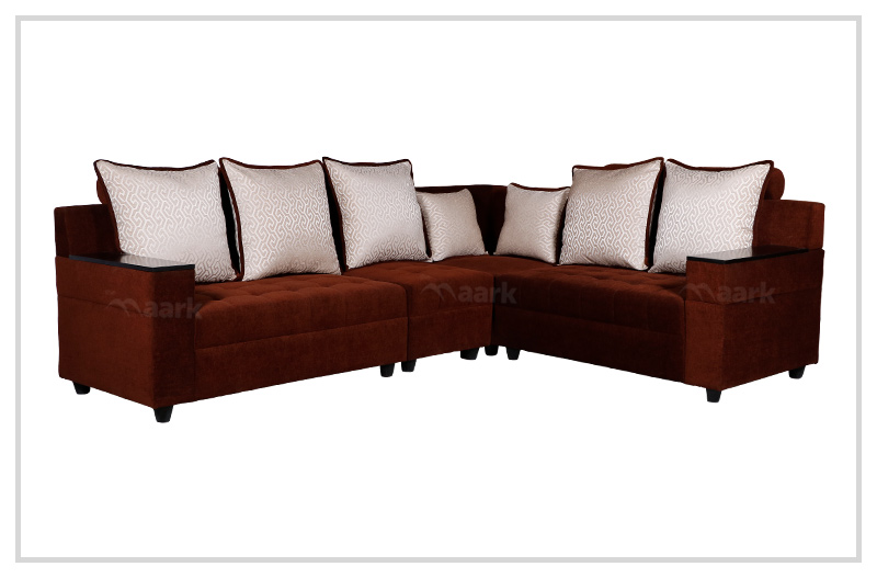 Italian Fabric Corner Sofa in Brown Color