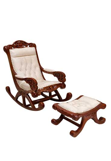 MAHOGANY WITH STOOL WOODEN ROCKING CHAIR