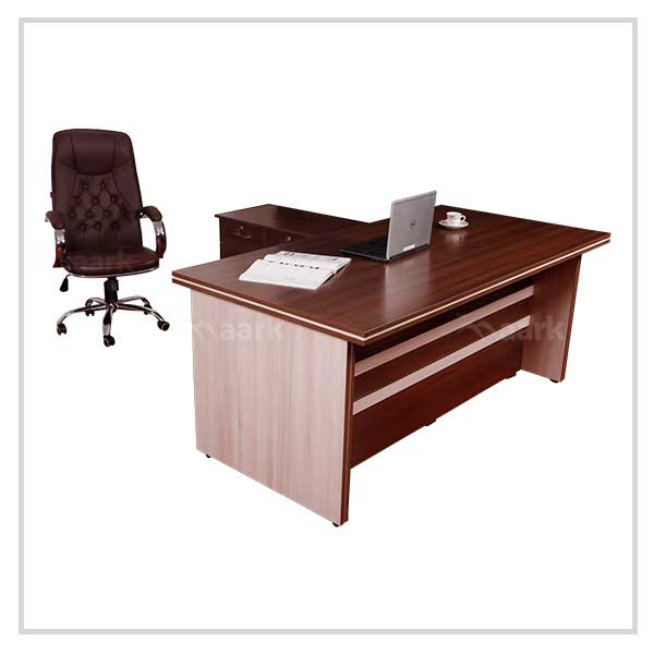 Wooden Office Table with Side Unit