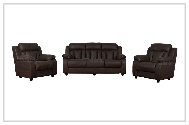 Panjavarnam Leatherette Sofa in Brown Color