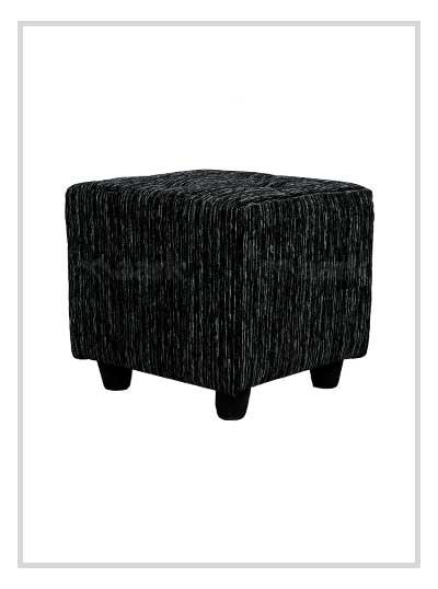 Fabric Puffy Stool in Black and Grey Color