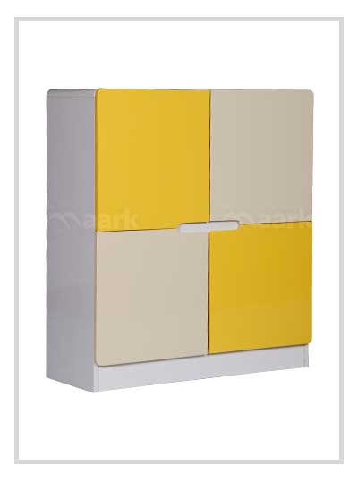 Shoe Rack in White and Yellow Colour